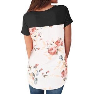 Floral Back Cross Front Top
